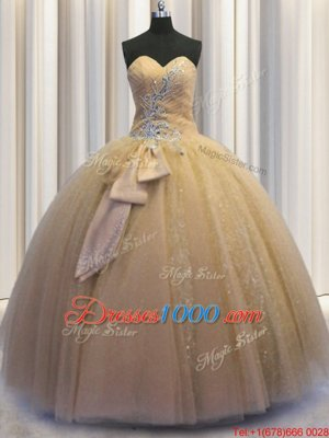 Sequined Sleeveless Beading and Bowknot Lace Up Quince Ball Gowns