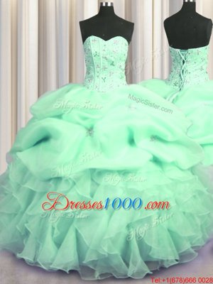 Fantastic Light Yellow Sweetheart Lace Up Beading and Ruffles Quinceanera Gowns Sleeveless