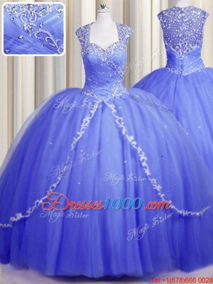 Affordable Zipper Up Cap Sleeves With Train Beading and Appliques Zipper Quinceanera Gown with Blue Brush Train