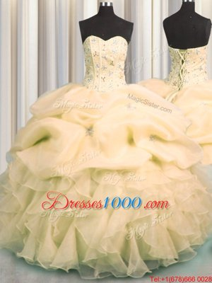 Sweetheart Sleeveless Quinceanera Dresses Floor Length Beading and Sequins and Bowknot Lavender Tulle