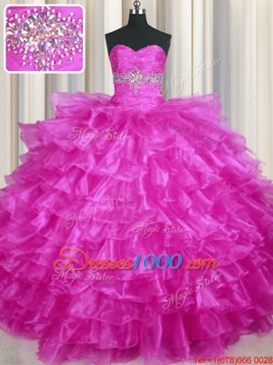 Lovely Beading and Ruffled Layers Quinceanera Gowns Fuchsia Lace Up Sleeveless Floor Length
