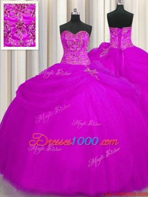 Sweetheart Sleeveless Tulle Ball Gown Prom Dress Beading Lace Up