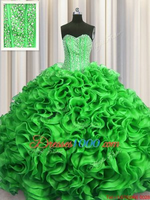 Visible Boning Green Sweetheart Neckline Beading and Ruffles Quinceanera Gowns Sleeveless Lace Up