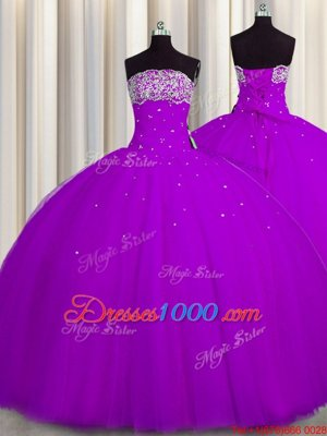 New Arrival Really Puffy Tulle Sleeveless Floor Length 15 Quinceanera Dress and Beading and Sequins