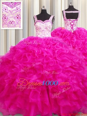 Custom Fit Sleeveless Beading and Ruffles Lace Up Sweet 16 Dress