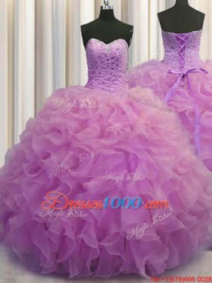 Hot Sale Three Piece Visible Boning Sweetheart Sleeveless Sweet 16 Dresses Floor Length Beading Multi-color Tulle