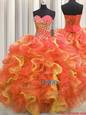 Sweetheart Sleeveless Quinceanera Dresses Floor Length Beading and Ruffles Multi-color Organza