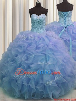 Free and Easy Bling-bling Beading and Ruffles Quince Ball Gowns Purple Lace Up Sleeveless With Brush Train
