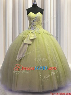 Edgy Light Yellow Lace Up Sweetheart Beading and Sequins and Bowknot Quinceanera Dresses Tulle Sleeveless