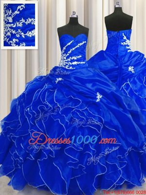 Royal Blue Ball Gowns Organza Sweetheart Sleeveless Beading and Appliques and Ruffles Floor Length Lace Up Quinceanera Dresses