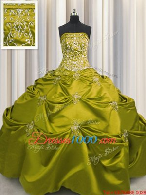 Affordable Sleeveless Taffeta Floor Length Lace Up 15 Quinceanera Dress in Olive Green for with Beading and Appliques and Embroidery