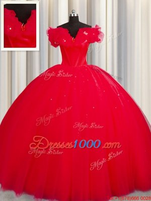 Off The Shoulder With Train Lace Up Quinceanera Dress Red and In for Military Ball and Sweet 16 and Quinceanera with Ruching Court Train