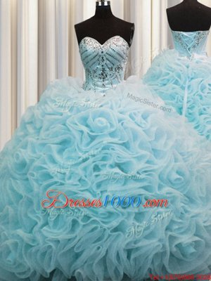 Glamorous Chiffon Strapless Sleeveless Lace Up Beading and Embroidery Sweet 16 Dresses in Royal Blue