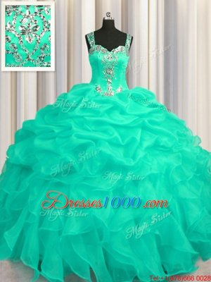 See Through Zipper Up Turquoise Ball Gowns Appliques and Ruffles 15th Birthday Dress Zipper Organza Sleeveless Floor Length