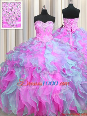 Multi-color Ball Gowns Sweetheart Sleeveless Organza Floor Length Lace Up Beading and Appliques and Ruffles 15th Birthday Dress