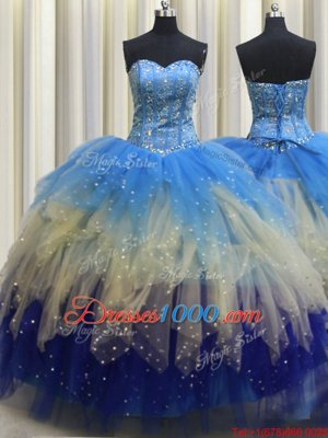 Three Piece Visible Boning Multi-color Sleeveless Floor Length Beading Lace Up Quinceanera Dresses