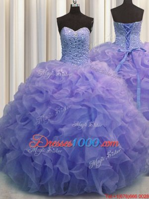 Sweetheart Sleeveless Lace Up Quinceanera Gowns Yellow Green Organza