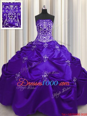 Glorious Purple Ball Gowns Beading and Appliques and Embroidery Quinceanera Dresses Lace Up Taffeta Sleeveless Floor Length