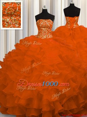 Popular Beading and Ruffles Quinceanera Dress Rust Red Lace Up Sleeveless Sweep Train
