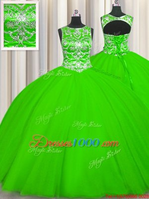 Attractive Scoop Sleeveless Tulle Lace Up Sweet 16 Dresses for Military Ball and Sweet 16 and Quinceanera