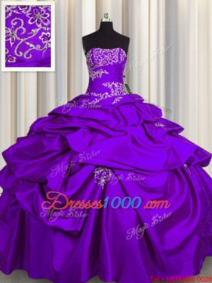 Purple Sleeveless Floor Length Appliques and Pick Ups Lace Up Quinceanera Gown