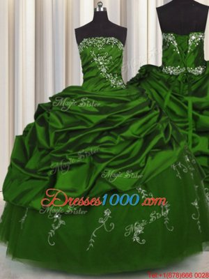 Smart Embroidery Sleeveless Beading and Appliques and Pick Ups Lace Up Quince Ball Gowns