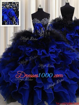 Blue And Black Ball Gowns Organza and Tulle Sweetheart Sleeveless Beading and Ruffles Floor Length Lace Up Quince Ball Gowns
