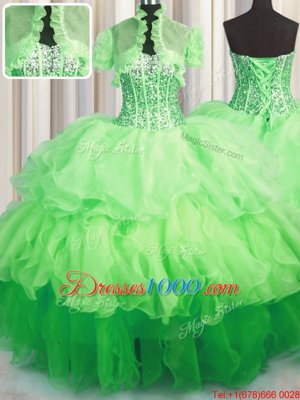 Wonderful Visible Boning Bling-bling Ball Gowns Organza Sweetheart Sleeveless Beading and Ruffled Layers Asymmetrical Lace Up Ball Gown Prom Dress