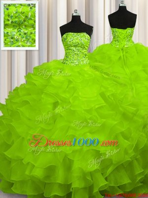 Sweep Train Sleeveless Beading and Ruffles Lace Up Quinceanera Gown