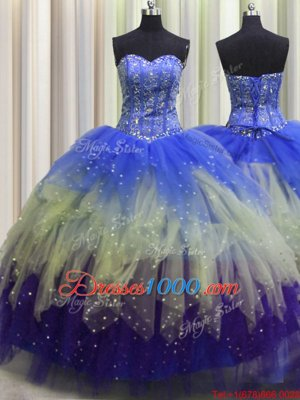 Visible Boning Beading and Ruffles and Sequins Sweet 16 Quinceanera Dress Multi-color Lace Up Sleeveless Floor Length