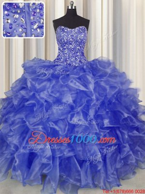 Customized Visible Boning Organza Strapless Sleeveless Lace Up Beading and Ruffles Sweet 16 Dresses in Blue