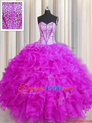 Yellow Sleeveless Tulle and Sequined Court Train Lace Up Sweet 16 Quinceanera Dress for Military Ball and Sweet 16 and Quinceanera