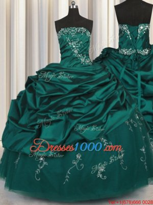 Peacock Green Sleeveless Floor Length Beading and Appliques and Embroidery and Pick Ups Lace Up Quinceanera Gowns