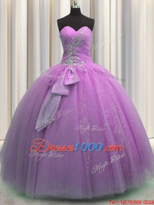Lilac Sleeveless Floor Length Beading and Sequins and Bowknot Lace Up Quinceanera Dress