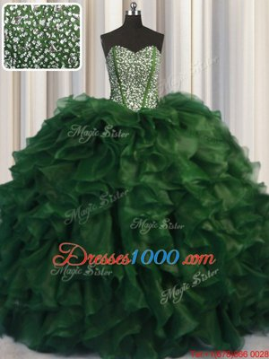 Trendy Visible Boning Bling-bling Green Ball Gowns Beading Sweet 16 Dresses Lace Up Organza Sleeveless With Train