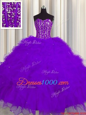 Visible Boning Floor Length Purple Quinceanera Gown Tulle Sleeveless Beading and Ruffles and Sequins