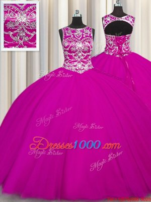 Fuchsia Ball Gowns Tulle Scoop Sleeveless Beading and Appliques Floor Length Lace Up Sweet 16 Dress