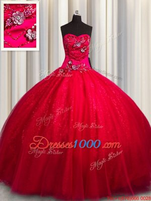 Sequined Red Vestidos de Quinceanera Military Ball and Sweet 16 and Quinceanera and For with Beading and Appliques Sweetheart Sleeveless Lace Up