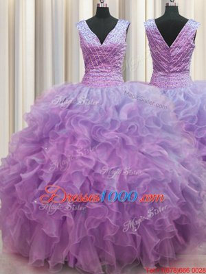 V Neck Zipper Up Lilac Ball Gowns Ruffles Sweet 16 Dress Zipper Organza Sleeveless Floor Length