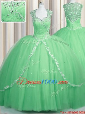 Great Sweetheart Cap Sleeves Tulle Quinceanera Dress Beading and Appliques Brush Train Zipper