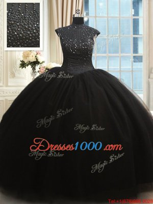 High-neck Cap Sleeves Zipper Ball Gown Prom Dress Black Tulle