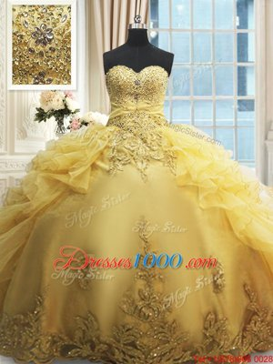 Sweetheart Sleeveless Quinceanera Gown Floor Length Beading and Appliques and Ruffles Yellow Organza