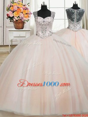 Fancy See Through Back Zipper Up Peach Straps Neckline Beading Quinceanera Gowns Cap Sleeves Zipper