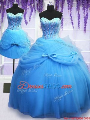 Delicate Three Piece Sleeveless Beading and Bowknot Lace Up 15 Quinceanera Dress