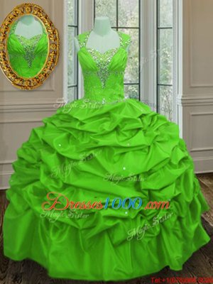 Fantastic Straps Straps Pick Ups Cap Sleeves Taffeta Lace Up Ball Gown Prom Dress for Military Ball and Sweet 16 and Quinceanera