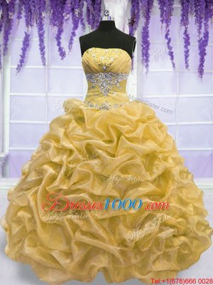 Superior Gold Organza Lace Up 15 Quinceanera Dress Sleeveless Floor Length Beading
