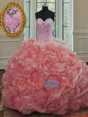 Custom Designed Watermelon Red Vestidos de Quinceanera Military Ball and Sweet 16 and Quinceanera and For with Beading Sweetheart Sleeveless Sweep Train Lace Up