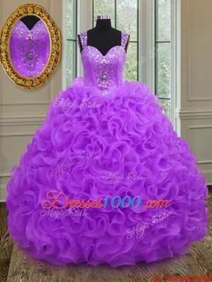Traditional Purple Quince Ball Gowns Military Ball and Sweet 16 and Quinceanera and For with Beading and Ruffles Straps Sleeveless Zipper