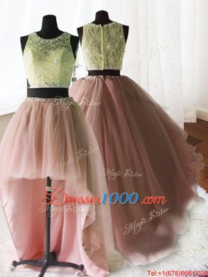 Three Piece Scoop Beading and Lace and Ruffles Quince Ball Gowns Baby Pink Zipper Sleeveless With Brush Train