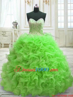 Ball Gowns Organza Sweetheart Sleeveless Beading and Ruffles Lace Up Vestidos de Quinceanera Sweep Train